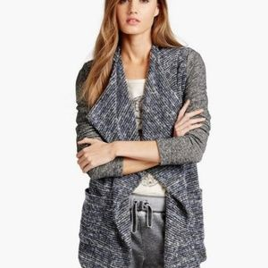 Lucky Brand Mixed Wrap Open Front Drape Cardigan